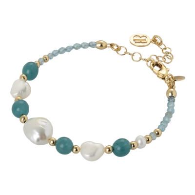 Bracciale con perle naturali, amazzonite e apatite