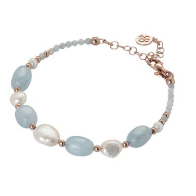Bracciale con perle bianche e acquamarina
