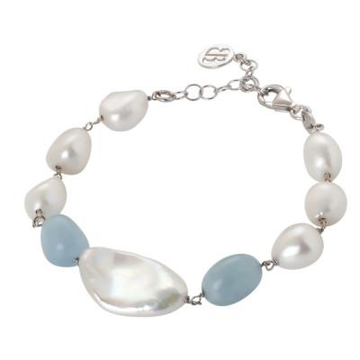 Bracciale con perle naturali e acquamarina