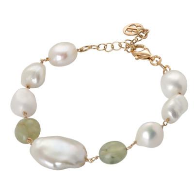 Bracciale con perle naturali e granato verde rutilato