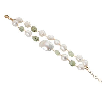 Bracciale doppio filo con perle naturali e granato verde rutilato