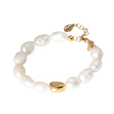 Bracciale placcato oro giallo con perle naturali scaramazze