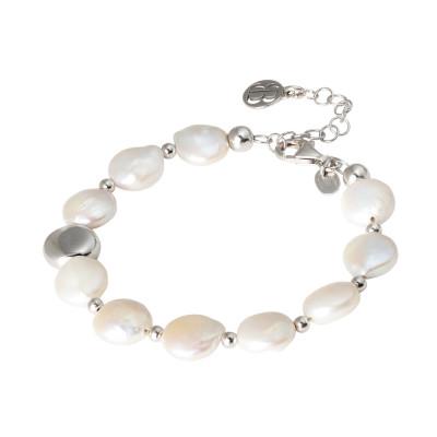 Bracciale con perle naturali a bottone