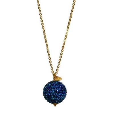 Collana con sfera in pavè di strass blu