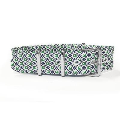 Cinturino sartoriale motivo optical verde e bianco