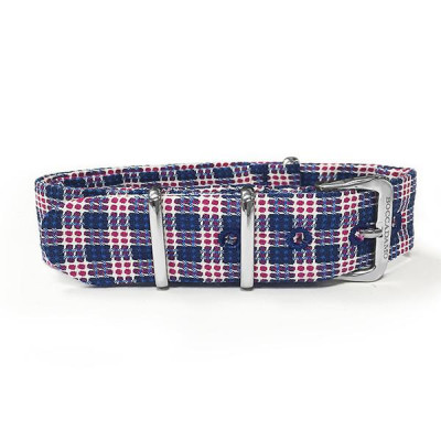 Cinturino sartoriale trama Twill bianco, blu e rosso