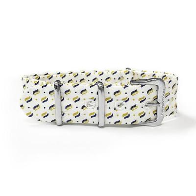 Cinturino sartoriale micro fantasia giallo su fondo bianco