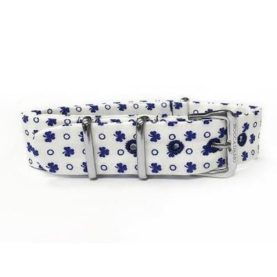 Cinturino sartoriale con trifogli blu