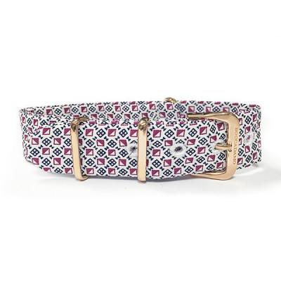 Cinturino sartoriale motivo optical e fibbia rosata