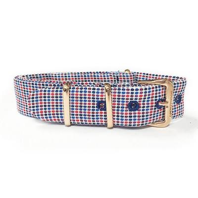 Cinturino sartoriale micro fantasia a quadri blu e rosso e fibbia rosata