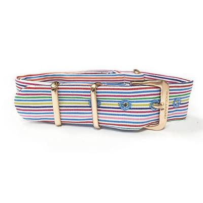 Cinturino sartoriale a righe orizzontali multicolor e fibbia rosata