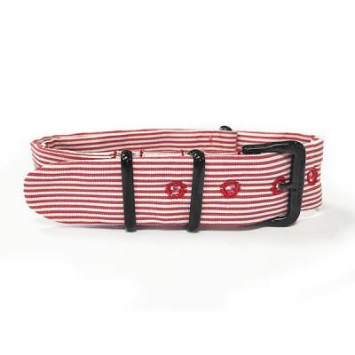 Cinturino sartoriale a righe orizzontali rosse e fibbia nera