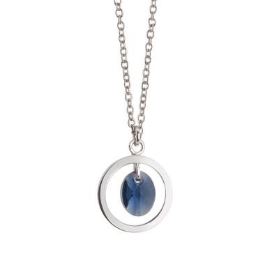 Collana con cristallo Swarovski blu montana