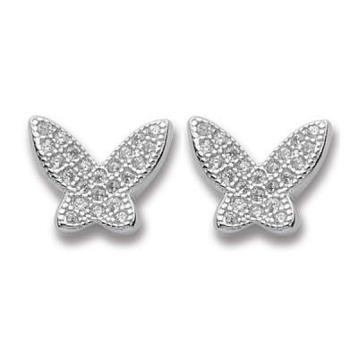 Orecchini a lobo a forma di farfalla con zirconi