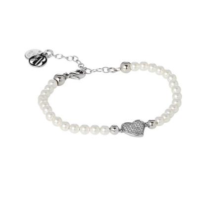 Bracciale in perle Swarovski bianche e centrale a cuore in pavè di zirconi