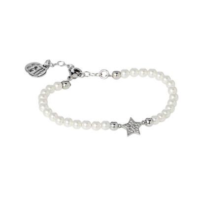 Bracciale in perle Swarovski bianche e centrale a stella in pavè di zirconi
