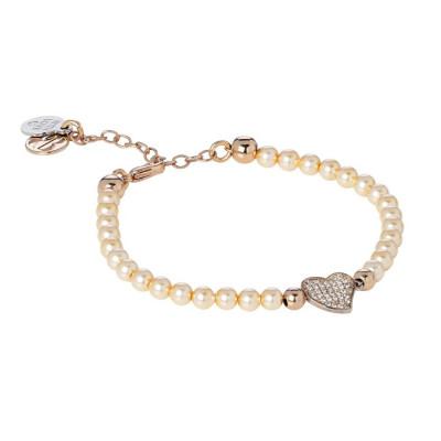 Bracciale in perle Swarovski peach e centrale a cuore in pavè di zirconi