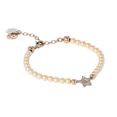 Bracciale in perle Swarovski peach e centrale a stella in pavè di zirconi