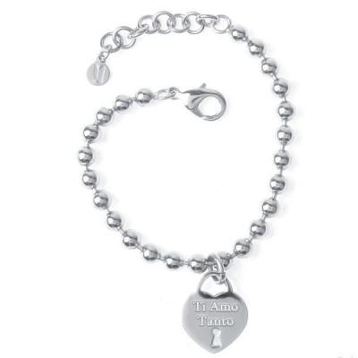 """Bracciale in acciaio con pendente a forma di cuore e messaggio inciso """"Ti Amo Tanto"""""""