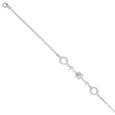 Bracciale in argento con fiore di zirconi