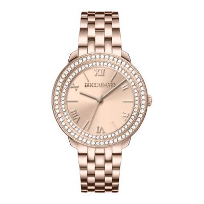 Orologio solo tempo donna rosa con quadrante rosa e doppia ghiera di Swarovski