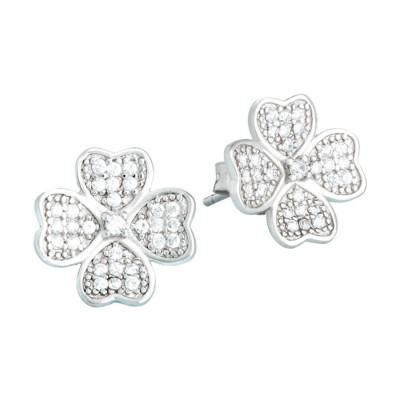 Orecchini in argento con quadrifoglio di zirconi