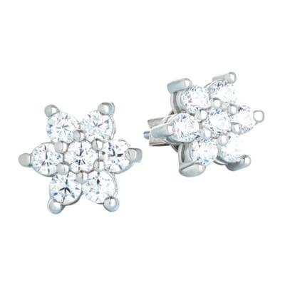 Orecchini in argento con decoro a stella e zirconi