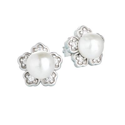 Orecchini in argento con perla e zirconi