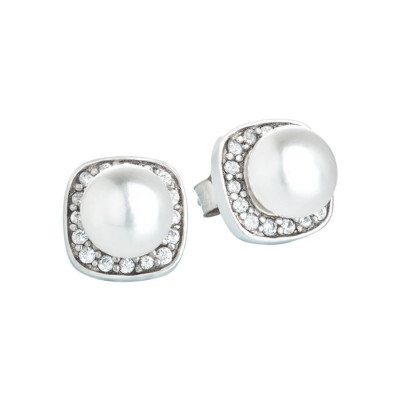 Orecchini in argento con perla centrale e zirconI