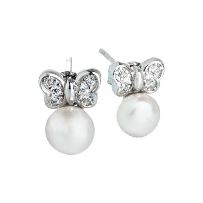 Orecchini in argento con fiocco di zirconi e perla