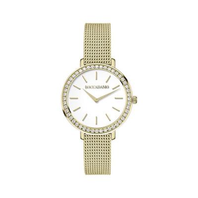 Orologio da polso donna dorato con quadrante circolare e Swarovski