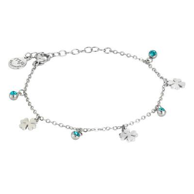 Bracciale con cristalli blue zircon e quadrifogli