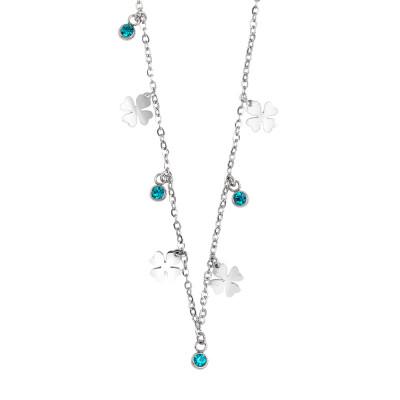 Collana con cristalli blue zircon e quadrifogli