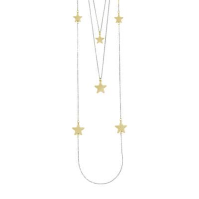 Collana tre fili con stelle rosate