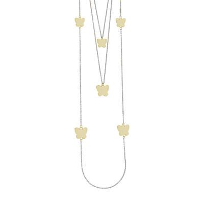 Collana tre fili con farfalle placcate oro rosa