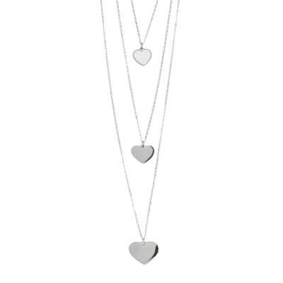 Collana tre fili con cuori pendenti