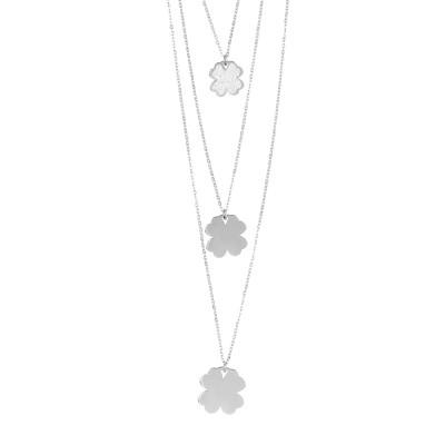 Collana tre fili con quadrifogli pendenti