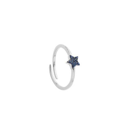 Anello con stella di zirconi blu