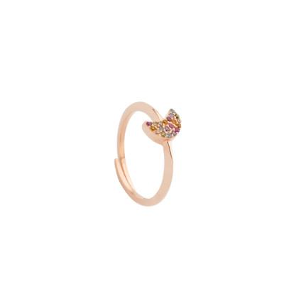 Anello placcato oro rosa con mezzaluna di zirconi