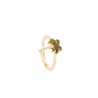 Anello placcato oro giallo con palma di zirconi
