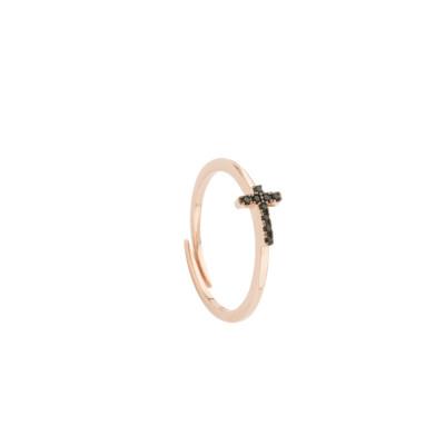 Anello placcato oro rosa con croce di zirconi neri