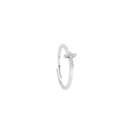 Anello con croce di zirconi bianchi