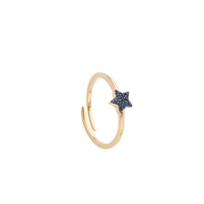 Anello placcato oro giallo con stella di zirconi
