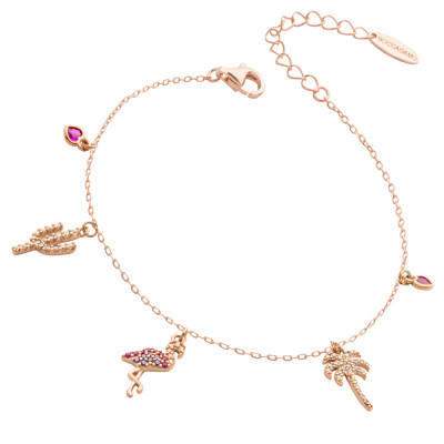 Bracciale placcato oro rosa con pendenti esotici di zirconi