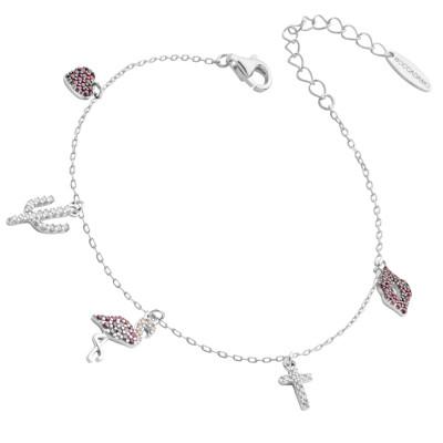 Bracciale con pendenti di zirconi rosa e bianchi