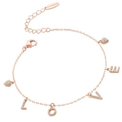 Bracciale placcato oro rosa con scritta LOVE di zirconi