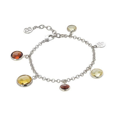 Bracciale rodiato con cristalli brown, yellow e light citrine