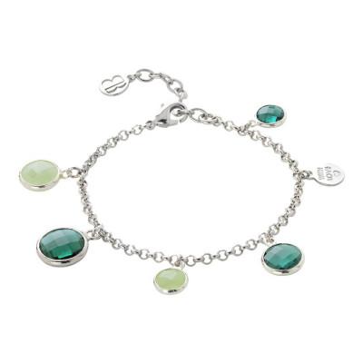 Bracciale rodiato con cristalli green e light green