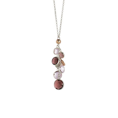 Collana bicolor con cristalli ametista e light pink