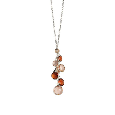 Collana bicolor con cristalli peach, brown e pink